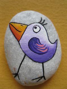 malovaný kámen - ptáček