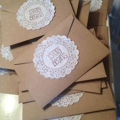 """DIY wedding invitation envelopes  I like these, but with """"The journey begins"""" on the outside"""