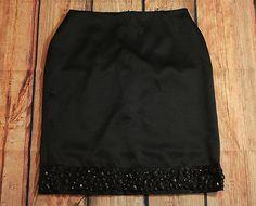 White House Black Market Black Satin Skirt with Beaded Embellishments Size 12