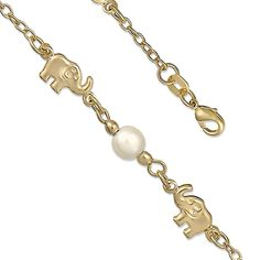 14K Yellow Gold Plated Elephant Anklet