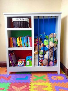 cute baby room toy storage that somehow doesnt look like a public school or daycare even though its primary colors!