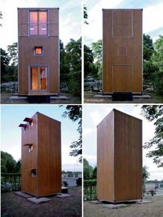 Hans Slawik builds shipping container housing out of wood and plants them vertically