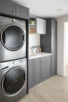 laundry room design, white laundry room with laundry room storage, laundry room organization with neutral floor tile, neutral mudroom design with laundry and folding counter and laundry sink Modern Laundry Rooms, Laundry Room Layouts, Laundry Room Remodel, Farmhouse Laundry Room, Laundry Closet, Laundry Room Organization, Basement Laundry, Laundry Room With Storage, Utility Room Storage