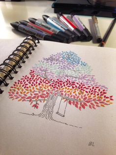 My little colorful tree | https://www.facebook.com/DrawDoodlesStudy ... #drawing #tree #triamarkers