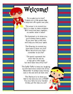 teacher superhero   Super Hero Goodie Bags Poem - Julia Mauldin - TeachersPayTeachers.com