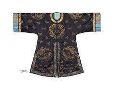 A dark blue-ground woven silk informal lady's 'butterfly' robe, mid-19th century
