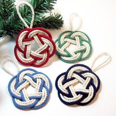 Sailor Knot Christmas Ornament, Striped, Nautical Colors - Mystic Knotwork nautical knot