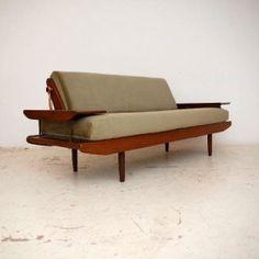 1960s teak upholstered sofa bed from retrospective interiors
