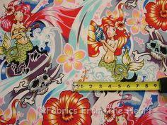 Chula Hula Mermaid Skulls Seashells Waves BY YARDS Alexander Henry Cotton Fabric
