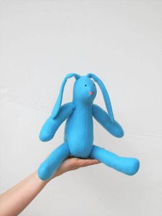 Blue bunny rabbit hare soft toy Easter bunny by HappyDollsByLesya