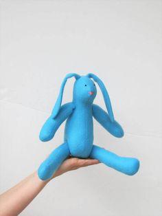 Blue bunny rabbit hare soft toy Easter bunny by HappyDollsByLesya
