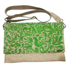 Messenger With Embroidery Natural Green - Cheri Blossom