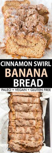 Healthy Cinnamon Swirl Banana Bread Recipe- Flourless and eggless moist banana b. - Healthy Cinnamon Swirl Banana Bread Recipe- Flourless and eggless moist banana bread with a cinnamo - Banana Bread Almond Flour, Cinnamon Banana Bread, Cinnamon Crunch, Almond Flour Recipes, Healthy Banana Bread, Banana Bread Recipes, Coconut Flour, Gluten Free Vegan Banana Bread, Flourless Banana Bread Recipe