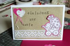 http://ullatrullabacktundbastelt.blogspot.de/: Einladung zur Taufe für ein Mädchen in Pink mit weißer Spitze - invitation for christening for a baby girl in pink with white doily