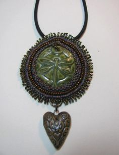 Dragonfly + heart bead embroidered pendant