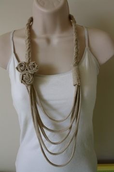 upcycled t shirt necklace (Link doesn't work but photo is good pin-spiration)