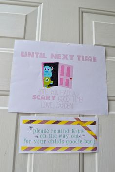 Monster University Birthday, Monster Inc Party, Monster Birthday Parties, Drake's Birthday, Birthday Ideas, Monster Baby Showers, Monsters Inc, Inspiration For Kids, Party Signs