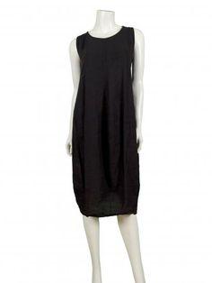 Damen Leinenkleid, schwarz