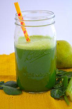 Perfect Pear juice: 2 lg handfuls spinach; 2 pears; 3 stalks celery; 1 cucumber peeled