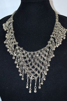 Vintage Large Silver Linked Mesh Chain Maille Jingling Bell Middle Eastern Belly Dance Necklace by DodiesDrawer on Etsy