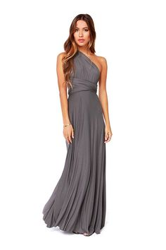 Grey Maxi Dress with a Cross Back - US$35.95