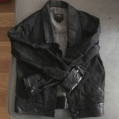 Black denim and leather jacket Black denim with black leather and silver accents. Stussy Jackets & Coats Jean Jackets