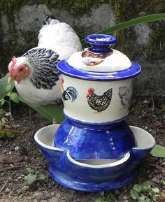 Ceramic Chicken Feeder size  medium with by RockBottomPottery, $107.00