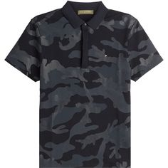 Valentino Printed Cotton Polo Shirt ($470) ❤ liked on Polyvore featuring tops, black, mens fitted shirts, mens camouflage shirts, mens polo shirts, mens slim fit polo shirts and men's cotton polo shirts
