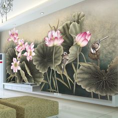 Lotus Flower Bird Wallpaper Beautiful 3D Photo wallpaper Custom Wall Murals Art Painting Interior Bedroom Coffee shop Room decor