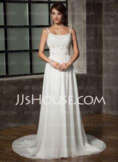 A-Line/Princess Scoop Neck Chapel Train Chiffon Wedding Dress With Ruffle Beadwork Sequins (002011441) - JJsHouse
