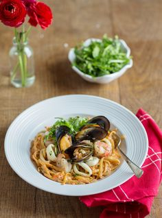 with and Best seafood pasta in the world! Seafood Pasta, Calamari, Mussels, Red Peppers, Pesto, Spaghetti, Burgundy, Restaurant, Ethnic Recipes