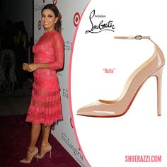 Eva Longoria in Christian Louboutin Halte Ankle-Strap Pumps - ShoeRazzi