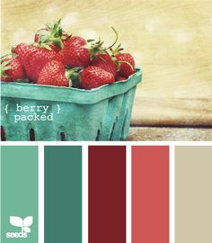 Strawberry splash - colour scheme - complementary colour values - greens and berries