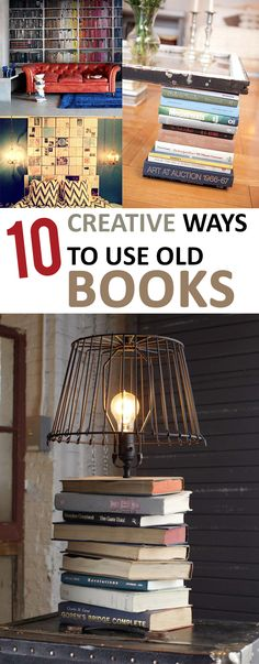 10 Creative Ways to Use Old Books (Manualidades Diy Books) Inexpensive Home Decor, Cheap Home Decor, Diy Home Decor, Book Projects, Diy Projects, Idee Diy, Diy Décoration, Old Books, Handmade Home Decor