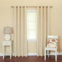 Solid Grommet Top Thermal Insulated Blackout Curtain 84-Inch Length by 52- Inch, 1 Pair-BEIGE - GT