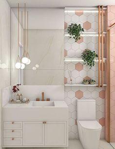 Home Room Design, Home Design Decor, Bathroom Interior Design, House Design, Bathroom Inspiration, Home Decor Inspiration, Rose Gold Room Decor, Small Toilet Room, Restroom Design