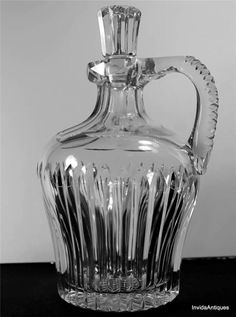 Antique ABP Brilliant Cut Glass Whiskey Jug or Decanter & Stopper Plain Miters