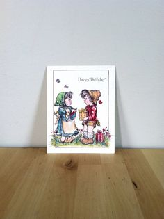 Happy Birthday, Little Boy and Girl Giving Gifts Paper Ephemera {1987} Vintage Greeting Card by JessicaAnnsEmporium, $2.99