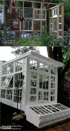 Greenhouse construction using old windows! Heres how to make it yourself from Our Fairfield Home and Garden!