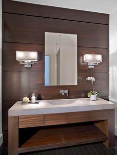 baño moderno, encimera con lavabo, mueble con cajones de líneas rectas, frente de madera