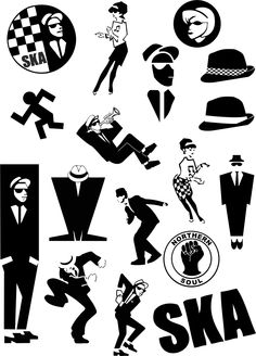 Ska 2 Tone Vinyl Stickers Decals 17 Various Designs & Sizes Sheet Specials Ska Music, Reggae Music, Skinhead Tattoos, Genre Musical, The Distillers, Df Mexico, Ska Punk, One Step Beyond, Laurel