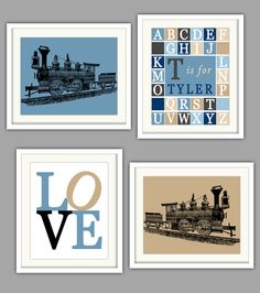 Baby Choo Train Nursery Art Print Colorful And Bright Images Capture Babys Attention While Also Providing Early Word Recognition For Pinterest
