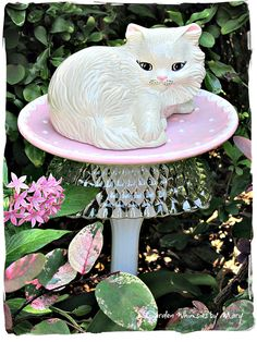White Cat Garden Totem Stake  As Featured by GardenWhimsiesByMary