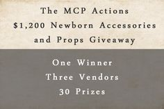 Sharing a fabulous contest for photography gear used specifically for newborn photography.  MCP is amazing!