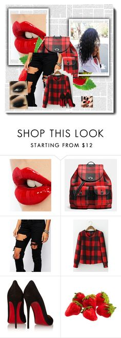 """""""plaidfall"""" by love-you-too123 ❤ liked on Polyvore featuring Charlotte Tilbury, Coach, Liquor n Poker and Christian Louboutin"""