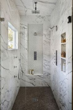 Built-in Niches - This beautiful bathroom with walk-in shower, designed by Allwood Construction, is sure to inspire your next bathroom remodel or renovation, via Next Bathroom, Bathroom Renos, Small Bathroom, Bathroom Marble, Concrete Bathroom, Stone Bathroom, Boho Bathroom, Bathroom Inspo, Bathroom Wall