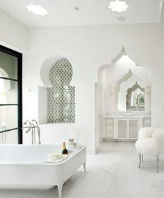 Moroccan architecture spring on white background