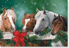 Horses at wreath covered fence Western Christmas, Christmas Horses, Christmas Animals, Country Christmas, Christmas Scenes, Christmas Past, Christmas Pictures, Christmas Holidays, Christmas Crafts