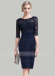 Sheath/Column Scoop Neck Knee-Length Sequins Zipper Up Sleeves 1/2 Sleeves No Other Colors General Plus Lace Height:5.7ft Bust:33in Waist:24in Hips:34in US 2 / UK 6 / EU 32 Mother of the Bride Dress