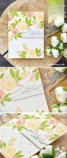 Beautiful floral backgrounds are too easy to make with  Freehand Florals stamps from WPlus9. For details and video tutorial, visit http://www.yanasmakula.com/?p=55415